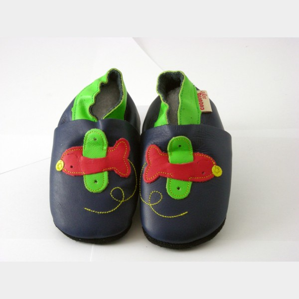 Chaussures cuquito bleu foncé motif avion