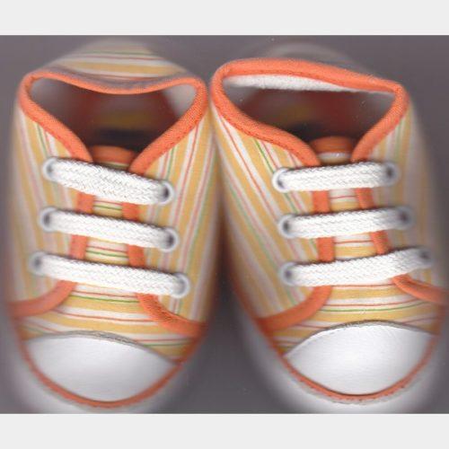 Chaussures en toile orange ligné