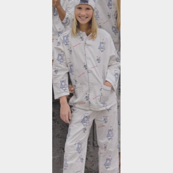 pyjama chat ecru hiver